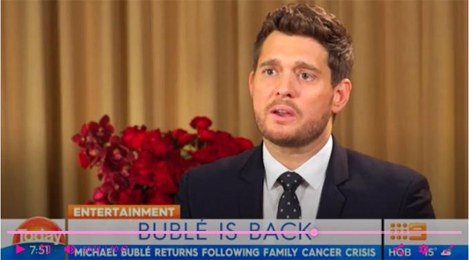 Michael Buble hoen lệ khi chia sẻ về bệnh tình của con trai trong chương trình Today Opens a New Window.