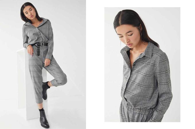 Suit kẻ sọc ca rô dành cho nàng cá tính với phom dáng trang phục kết hợp giữa kiểu sơ mi và quần tây ống lửng. Phụ kiện đi kèm là thắt lưng to bản đồng điệu cùng màu bốt đen.