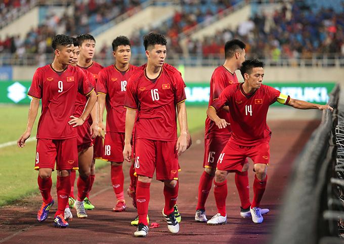 Nòng cốt tuyển Việt Nam chuẩn bị cho AFF Cup vẫn là những gương mặt quen thuộc của U23 và Olympic Việt Nam thi đấu rất thành công trong năm nay. Ảnh: Đương Phạm.
