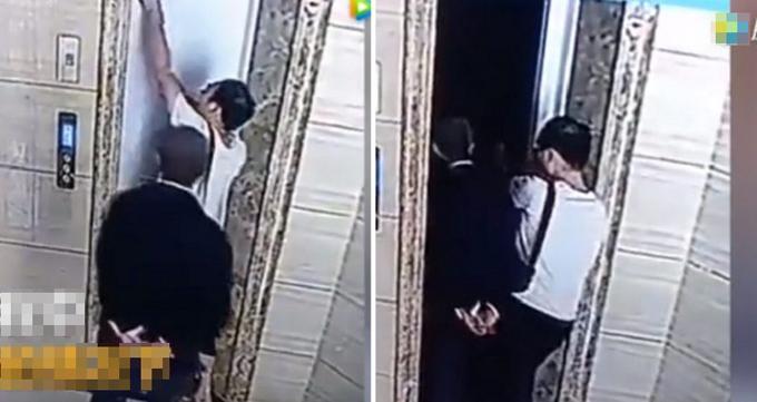 Con rể dùng chìa khóa mở cửa thang máy khi thang chưa đến khiến bố vợ tưởng lầm, bước vào và rơi xuống tử vong ở Trung Quốc. Ảnh cắt từ video.
