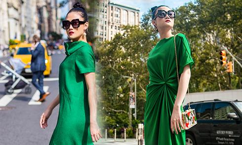 Kha Mỹ Vân gợi ý mặc đẹp cùng tông xanh lá bắt mắt