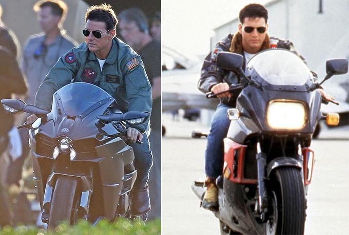 Tom đóng Top Gun từ khi anh mới 24 tuổi (ảnh phải). Sau hơn 30 năm, tài tử vẫn rất trẻ trung, phong độ.