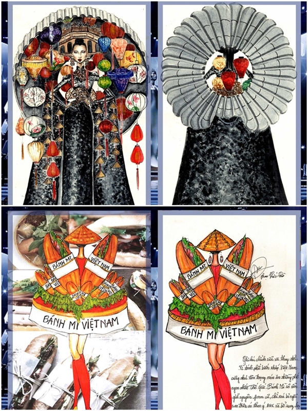Năm nay, ban tổ chức chọn lựatop 6 trang phục dân tộc và đang cân nhắc quyết định kết quả cuối cùng. Trong đó, mẫu thiết kế Phố cổ (ảnh trên) và Bánh mỳ (ảnh dưới) nhận được nhiều ủng hộ từ khán giả.