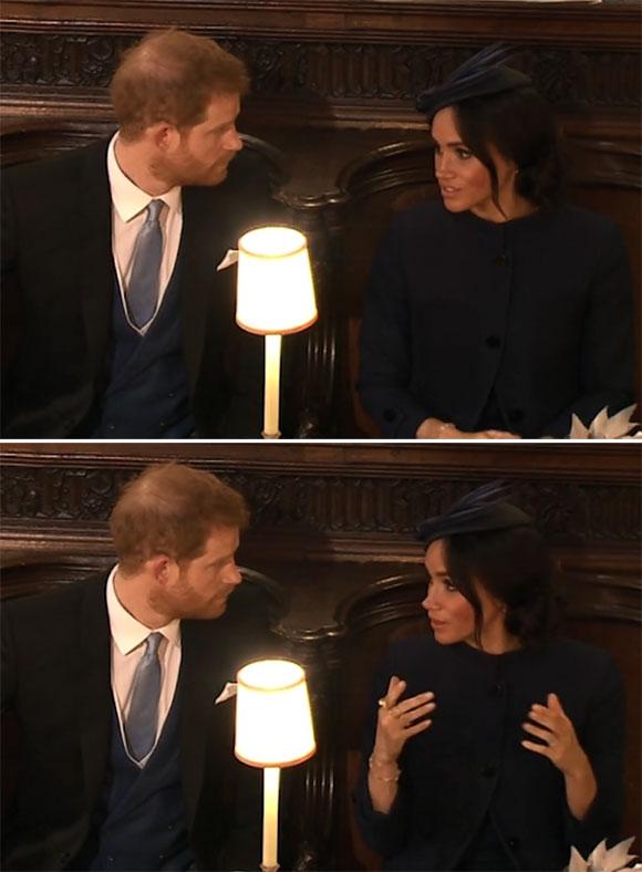 Harry được cho là có trận cãi vã nhỏ với Meghan bên trong nhà nguyện St. George, lâu đài Windsor trong thời gian chờ đợi hôn lễ của Công chúa Eugenie bắt đầu. Ảnh: ITV.