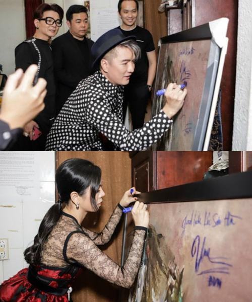 Hình ảnh Đàm Vĩnh Hưng và Lệ Quyên ký lên bức tranh khiến họ hứng chịu chỉ trích từ giới hội họa.