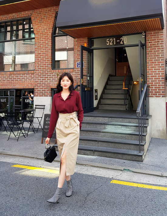 Phối chân váy ka ki hợp mốt mùa thu cho nàng công sở - 5