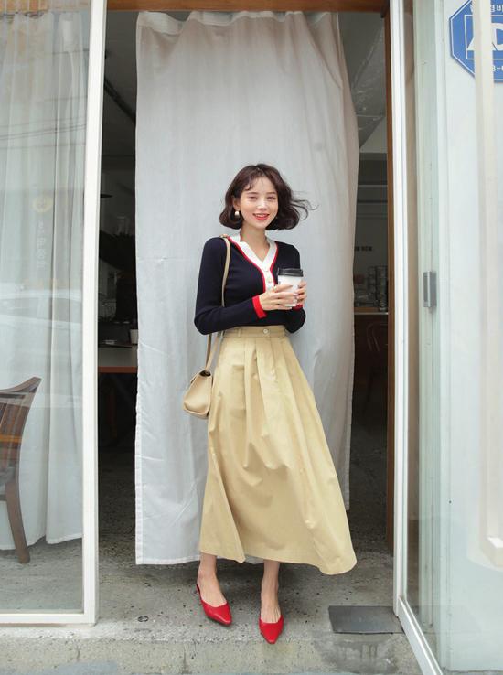 Phối chân váy ka ki hợp mốt mùa thu cho nàng công sở - 6