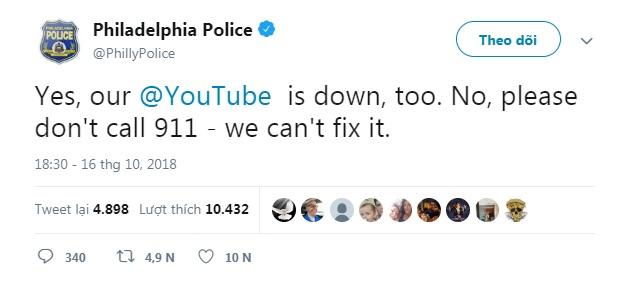 Cảnh sát Philadelphia: Vâng, YouTube của chúng ta sập. Nhưng không, xin đừng gọi 911 - chúng tôi không sửa được.