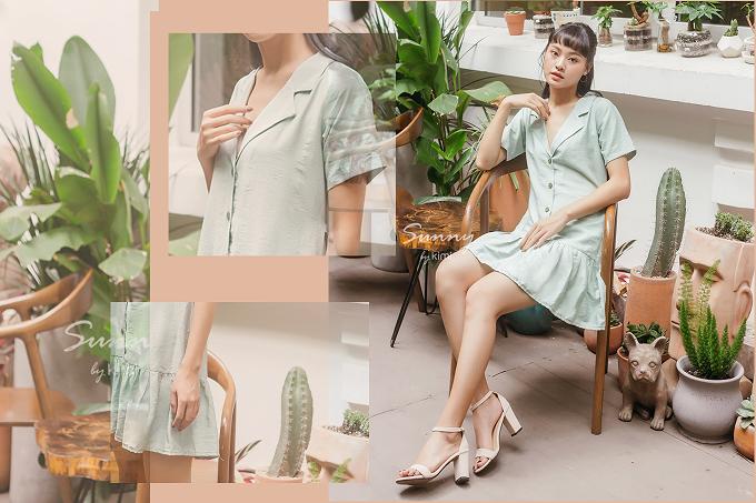 Với thiết kế cổ áo cổ điển, đầm hạ eo bâu danton xanh nhạt mang lại phong cách vintage nhưng vẫn rất trẻ trung cho các nàng.