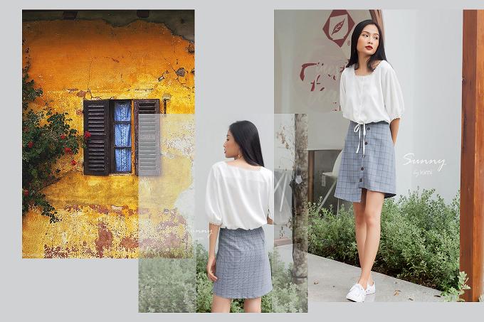 Chân váy ngắn có túi họa tiết caro chỉ với 256.000đ tạo nên phong thái tự tin, trẻ trung cho các nàng