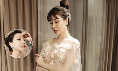 Hoa hậu Lam Cúc gợi cảm với váy cưới xẻ tà