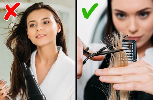 Thường xuyên tỉa tóc Với phần tóc chẻ ngọn, không có cách chữa trị nào tốt hơn là cắt bỏ. Cắt bỏ phần tóc đã bị tổn thương sẽ giúp các phần tóc khác được cung cấp đầy đủ dưỡng chất, trở nên suôn mượt ho