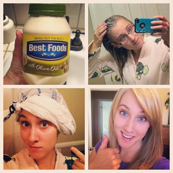 Dùng mayonnaise Mayonnaise có nhiều axit amin, rất tốt cho việc phục hồi tóc bị hư tổn. Bạn chỉ cần làm ướt tóc, thoa mayonnaise lên phần ngọn tóc rồi ủ lại bằng khăn hoặc mũ. Sử dụng nhiệt từ máy sấy hoặc máy ủ tóc sẽ làm tăng hiệu quả. Sau 15 phút thì gội sạch lại.