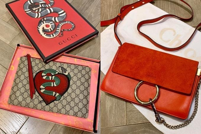 Loạt đồ được Kỳ Duyên thanh lý khá đa dạng từ mẫu mã đến nhiều thương hiệu đình đám: Gucci, Chloe, Dior... Hầu hết sản phẩm đều mới 98-99% do người đẹp chỉ sử dụng hiếm hoi 1-2 lần. Đơn cử, chiếc clutchGucci  họa tiết Snake heart (trái) còn mới có giá 10 triệu đồng, túi Chloe (phải) được Kỳ Duyên bán giá 20 triệu đồng.