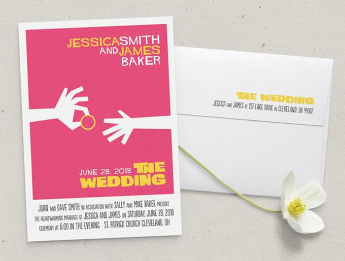 Thiệp cưới như poster và vé mời xem phim