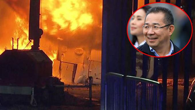 Chiếc trực thăng chở ông Vichai bốc cháy bên ngoài sân vận động King Power tối 27/10. Ảnh: PA.