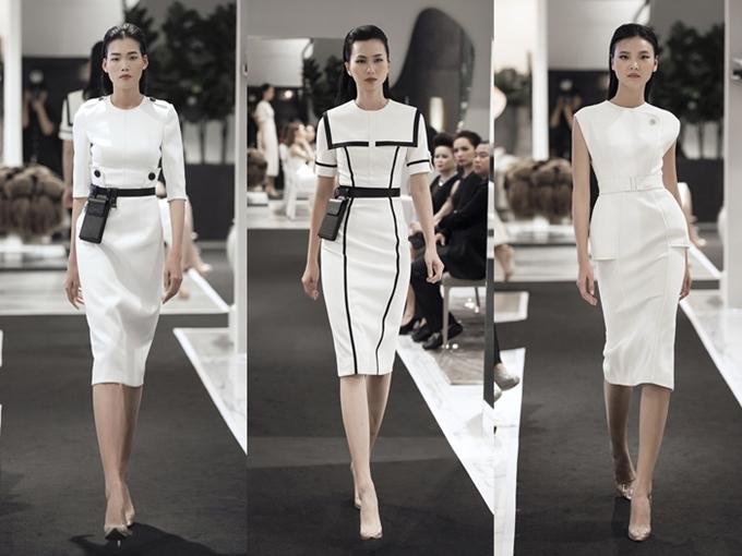 Hầu hết các thiết kế có phom dáng ôm tôn vóc dáng, phối hợpgiữa tông màu trắng - đen thanh lịch.