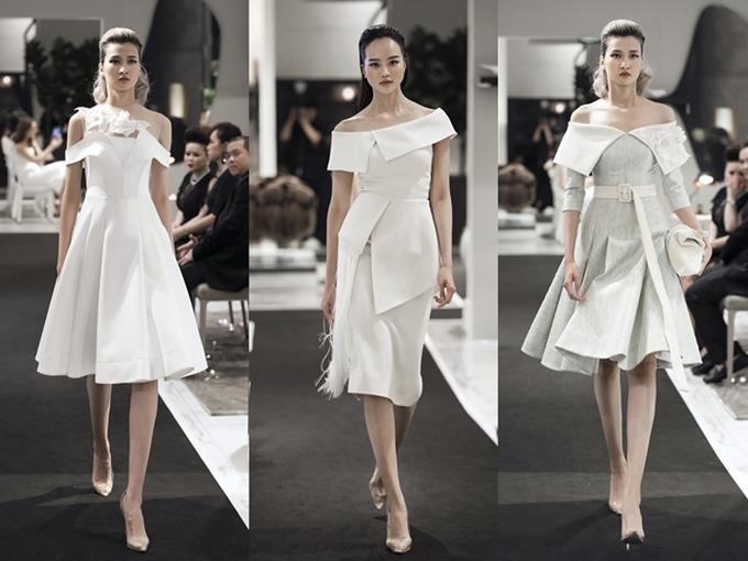 Nếu muốn phong cách nữ tính, pha chút gợi cảm, kiểu váy chữ A trễ vai là gợi ý lý tưởng cho các chị em phụ nữ. Nhà thiết kế đính kết thêm bông hoa3D giúp các bộ váy thêm phần cuốn hút.