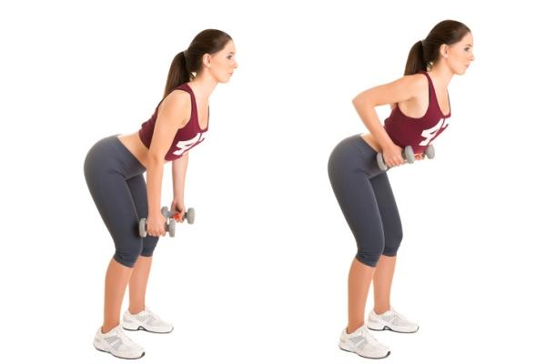 Đứng thẳng lưng với hai chân rộng bằng một vai, hai tay nắm tạ nhỏ. Thực hiện động tác cúi người, tay đưa tạ thấp về phía đầu gối