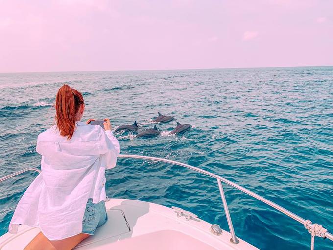 Hành trình đi tìm cá heo, trước khi đi tôi cũng được mấy anh thợ lặn làm tâm lý trước rằng hên xui, lúc gặp được lúc không, còn tùy vào vận may của mỗi người. Tôi cũng nói vậy đi lặn cũng được, không quá mong chờ sẽ gặp được chúng. Đó là tự an ủi bản thân vừa để mấy anh thợ lặn đỡ áy náy. Nhưng rồi khi đang đi trên thuyền, tôi đã nhìn thấy từ xa một đàn cá heo nhảy tưng một góc trời. Tôi la lớn khi thấy mấy em cá heo quấn quanh chân tàu, đùa giỡn cùng nhau. Thậm chí còn đợi nhau để cùng tung mình lên không trung, Minh Hằng chia sẻ.