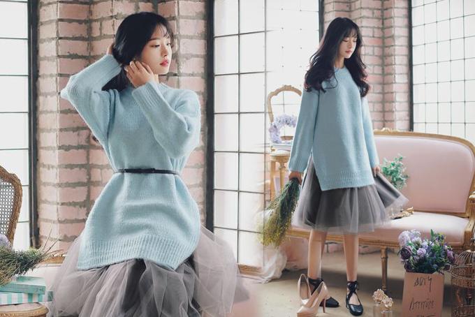 Chân váy xoè cắt may bằng chất liệu vải tuyn vốn được yêu thích ở mùa hè, nhưng nó vẫn có thể sử dụng vào dịp cuối năm khi được mặc kèm với các kiểu áo len có khả năng giữ ấm.
