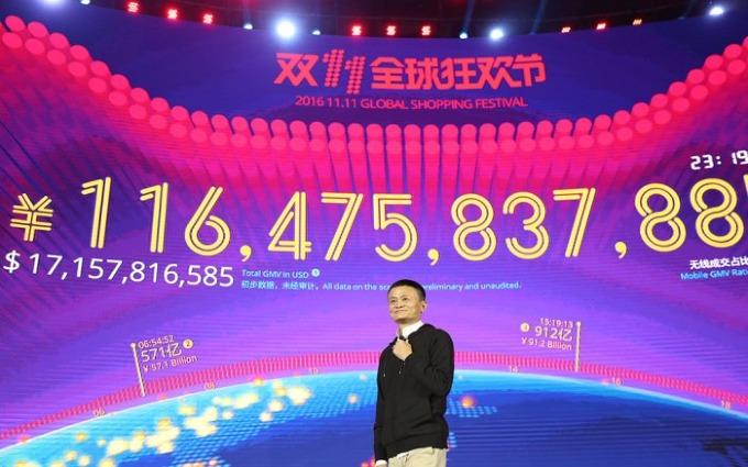 Chủ tịch Alibaba Jack Ma trong Ngày Độc thân 2017. Ảnh:Alibaba.