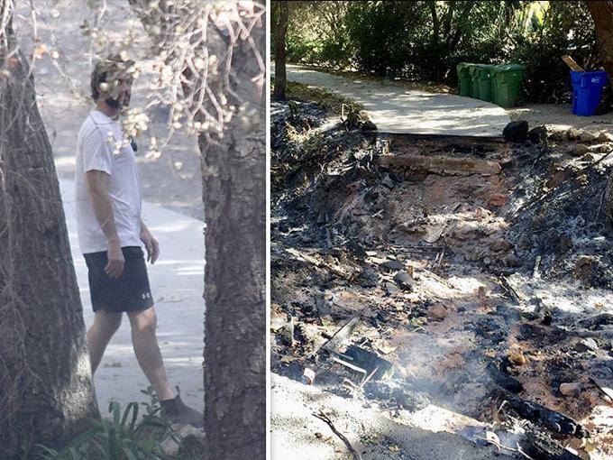 Liam thăm lại ngôi nhà bị tàn phá và cây cầu dẫn vào nhà đã bị thiêu rụi (ảnh phải)
