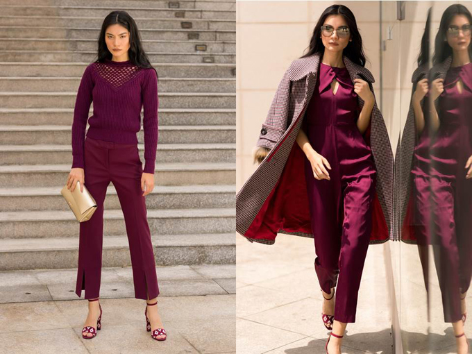 Mùa đông trở nên ấm áp hơn khi Kim Dung kết hợp trench coat và sắc đỏ rượu. Không rực rỡ trẻ trung như gam màu đỏ tươi, sắc đỏ rượu nồng nàn ấm áp hơn, càng làm nổi bật vẻ thanh lịch đầy tinh tế của người mẫu.