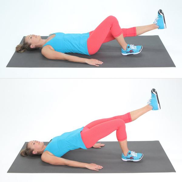 Chuẩn bị ở tư thế giống động tác trên với một chân duỗi thẳng, nâng hông lên cao, giữ trong 10 giây rồi hạ xuống. Lặp lại động tác 20 lần.