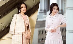 Nhã Phương gợi ý chọn váy vải tweed hợp xu hướng