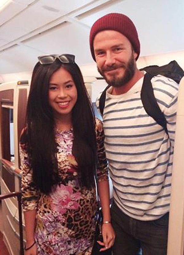 Thảo Tiên từng khoe ảnh chụp cùng David Beckham khi tình cờ đi cùng chuyến bay với anh, năm 2014.