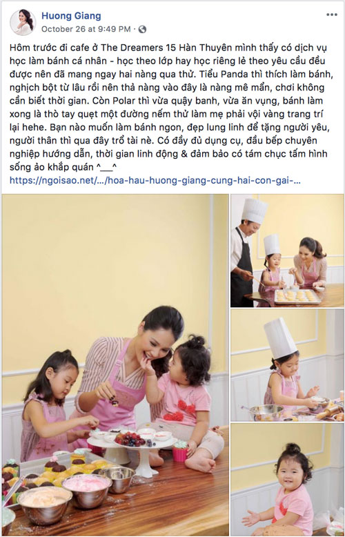 Huong Giang also led two daughters Tieu Panda and Polar to take part in the baking class to surprise the Chinese husband. Both parents have an interesting discovery of ingredients, making cakes and fun times together.