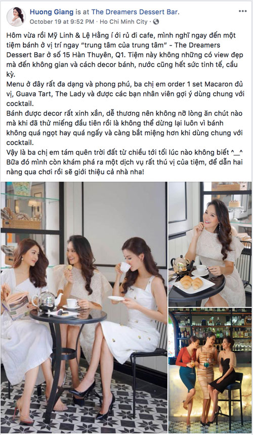 Soon after, Huong Giang also showed off her image of meeting Le Hang and My Linh on Facebook. The beauty shared the space and style of sophisticated cake decoration, making all three forget about forgetting the earth from the afternoon to the evening when not knowing.