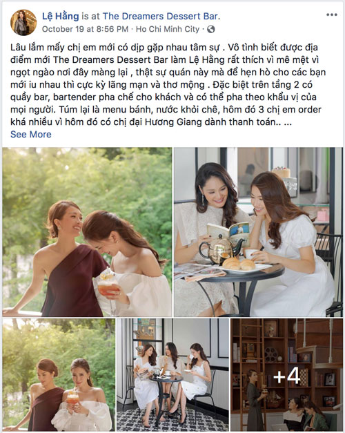 Runner-up Le Hang once invited Miss Huong Giang and MC My Linh to the bakery at No. 15, Han Thuyen, District 1, HCMC to enjoy afternoon tea. The three sisters not only had a happy date but also made a commemorative photo together.