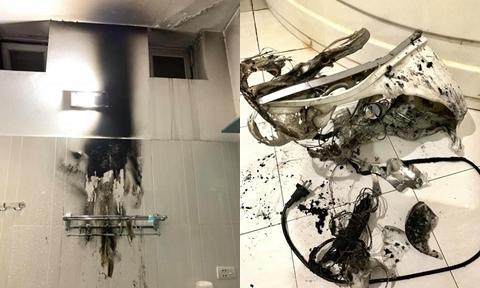 Bị bỏng vì đèn sưởi trong nhà tắm phát nổ như pháo hoa