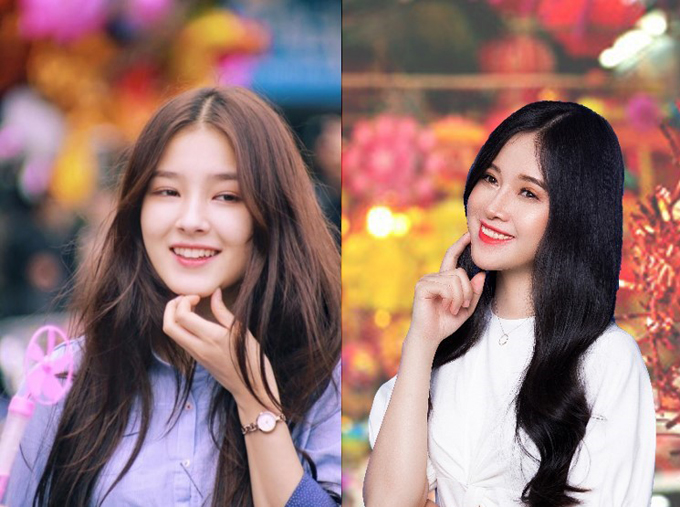 Thu Thảo sau phẩu thuậtcòn được cộng đồng mạng nhận xét là có nétnhiều nét giống ca sĩ thần tượng Nancy của nhóm nhạc Momoland Hàn Quốc những ngày đầu bước chân vào làng giải trí. Trong ảnh Nancy bên trái, Hoàng Thu Thảo bên phải.