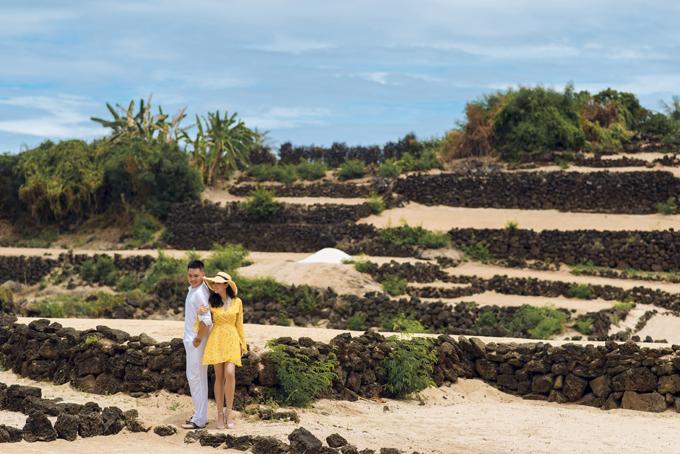 Cô dâu Thanh Thủy và chú rể Thanh Tâm tạo dáng bên ruộng tỏi trốngtrênnền cát trắng được phân chia bới các lớp tường đá nâu. Một cảnh đẹp độc đáo chỉ có ở Lý Sơn.