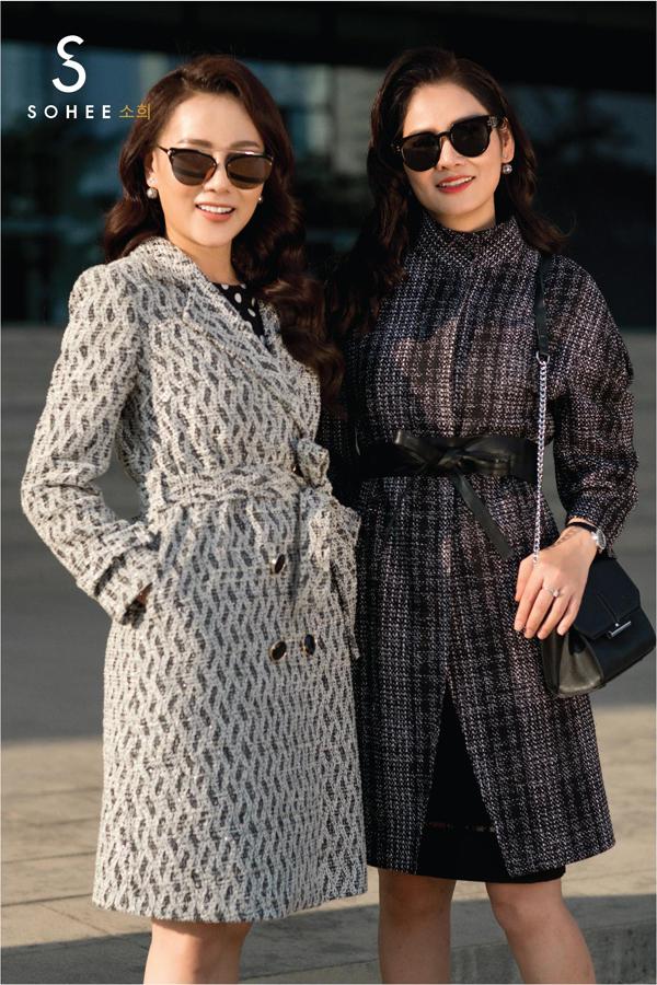 Bên cạnh các mẫu váy liền thân hay set váy,áo ton sur ton, Sohee còn tung ra thị trường những thiết kế áo khoác đa dạng về chất liệu, kiểu dáng. Với những cô nàng có tính cách điệu đà, mẫu áo dạ thắt nơ ở vùng eo là một lựa chọn chomùa đông năm nay.