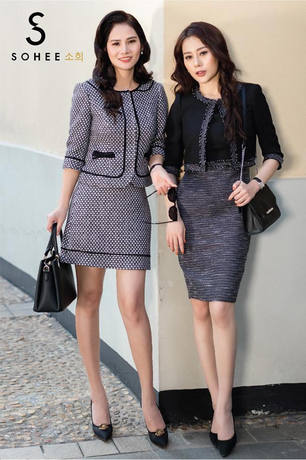 Bên cạnh trang phục có tông sáng, những gam màu trầm như đen - trắng, ghi xám của Soheeđáp ứngnhu cầu về sở thích ăn mặc, tính cách của những quý cô yêu thích sự cổ điển.