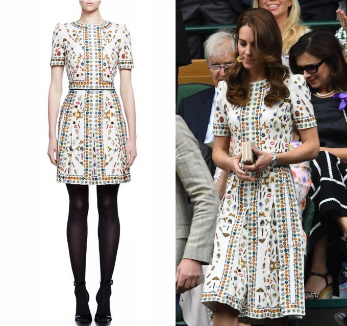 Yêu thích sản phẩm từ thương hiệu Alexander McQueen, nàng dâu hoàng gia một lần nữa tăng độ dài váy đến dưới gối để diện đi xem chung kết giải quần vợt Wimbledon.