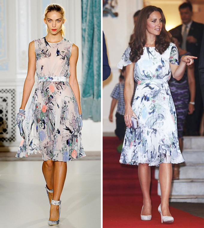 Phiên bản váy Erdem mà Hoàng hậu tương lai của nước Anh lựa chọn trong chuyến thăm Singapore có cổ khoét ngang rộng hơn, nhưng lại bổ sung tay áo và sử dụng lớp lót dày hơn.
