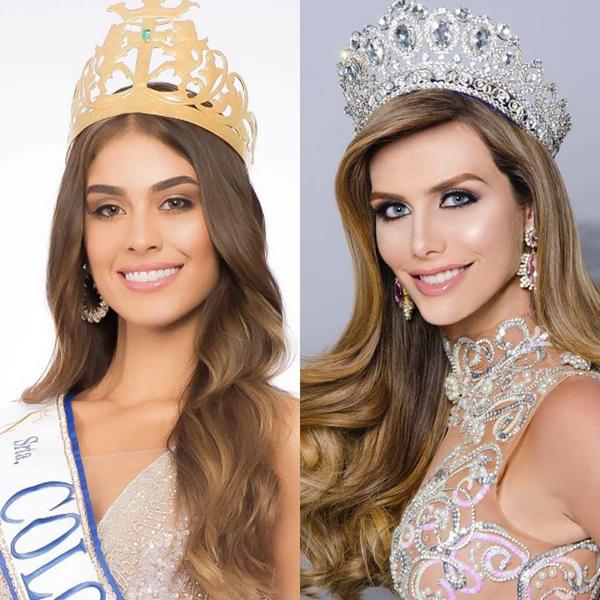 Hoa hậu Colombia (bên trái) không đồng tình khi người đẹp chuyển giới Tây Ban Nha dự thi Miss Universe.