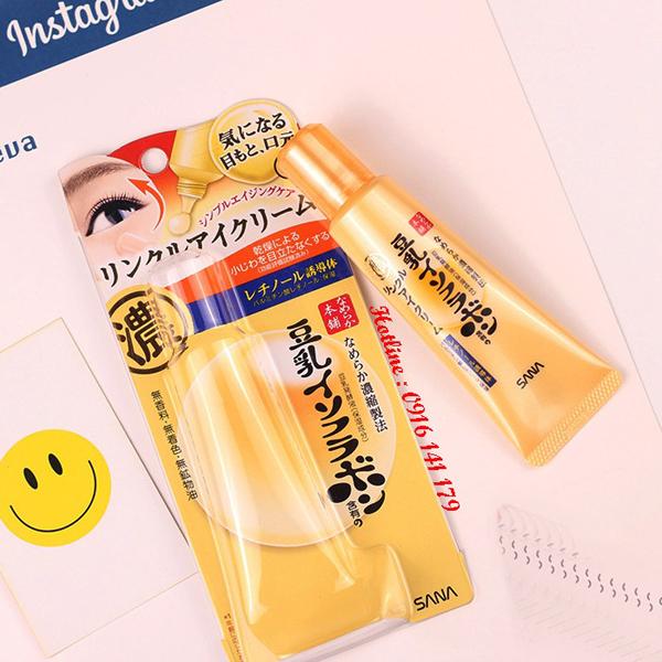 Sana Nameraka Soymilk Eye Cream chứachiết xuất đậu nànhcung cấp dưỡng chất và dưỡng ẩm sâu cho vùng da quanh mắt, giảm thiểu thâm sạm và tình trạng da mắt bị chảy xệ.Giá tham khảo: 320.000 đồng.