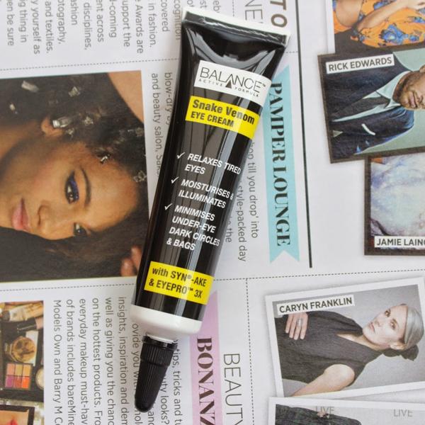 Balance Snake Venom Eye Cream được đánh giá 4/5 sao ở trang mua sắm trực tuyến Amazon. Sản phẩm có chứa Syn-Ake, một loại peptide mô phỏng theo tác dụng của nọc rắn có khả năng tăng độ đàn hồi cho da.Giá tham khảo: 150.000 đồng.