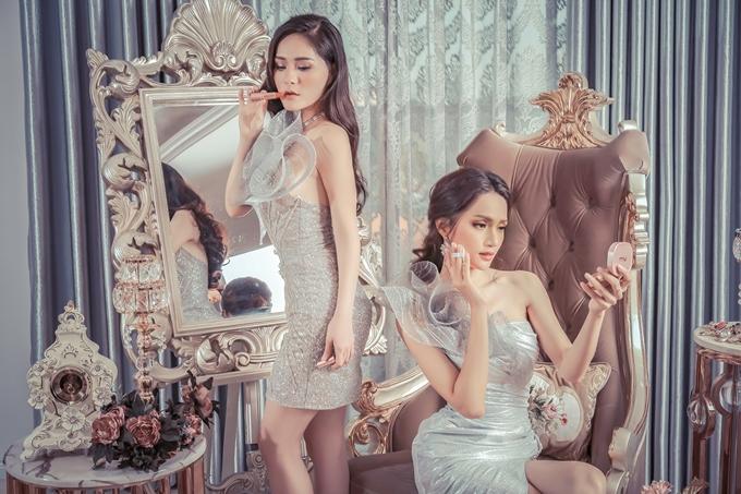 Hương Giang, Băng Di đọ dáng với váy họa tiết 3D - 8