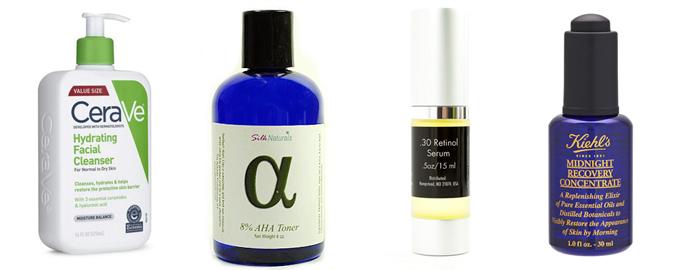 Các bước chăm sóc da cuối ngày bao gồm: rửa mặt, toner chứa AHA, serum chứa retinol và dẫu dưỡng ban đêm.