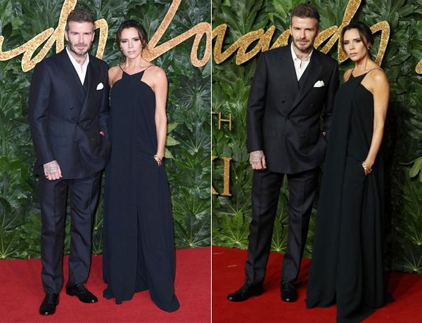 Vợ chồng Becks là một trong những cặp đôi được chú ý nhất giữa rừng sao thời trang dự British Fashion Awards diễn ra tại Hội trường Hoàng gia Albert, thủ đô London tối 10/12. Trên thảm đỏ, cặp đôi thời trang mặc đồ ton sur ton, đứng sát vai tạo dáng trước ống kính.
