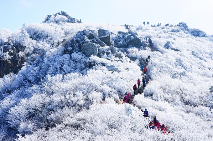 Những đợt không khí lạnh mạnh đang ảnh hưởng đến nhiều nước châu Á và đưa mùa đông lạnh giá đến với khu vực này. Ở Hàn Quốc, tuyết đã rơi cách đây vài tuần. Ở thủ đô Seoul, tuyết cũng phủ trắng xóa nhiều con đường, công viên. Người Hàn có thói quen đi leo núi ngắm tuyết vào mùa đông và một trong những điểm đến nổi tiếng được nhiều người lựa chọn làvườn quốc gia núi Deogyusan (tỉnh Jeollabuk-do).