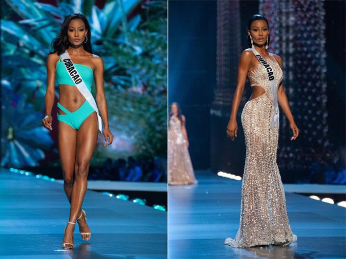 Akisha Albert, Miss Universe Curacao gây ấn tượng với thân hình nóng bỏng, phong cách trình diễn đầy tự tin.Người đẹp 23 tuổi đã rất nhiều kinh nghiệm thi đấu khi cô từng tham gia Miss Earth và Reina Hispanoamericana (Hoa hậu các nước nói tiếng Tây Ban Nha). Nhiều chuyên gia sắc đẹp tin rằng Akisha sẽ vào tới Top 5 của Miss Universe.