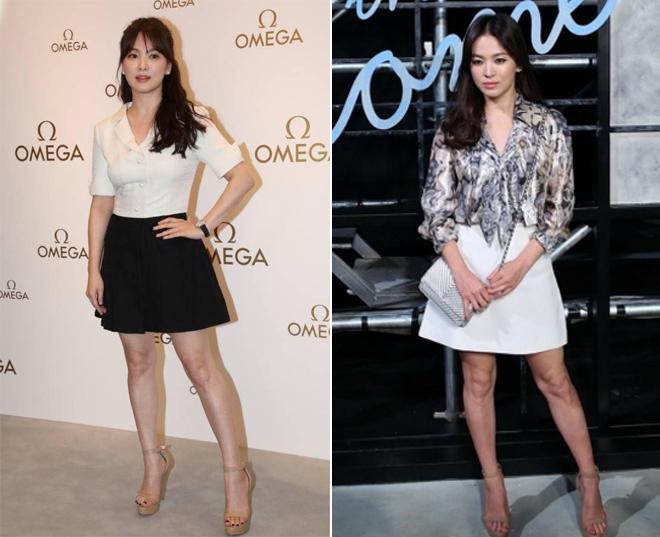Chiều cao khiêm tốn luôn là một nhược điểm của Song Hye Kyo, cô thường xuyên phải khắc phục nó với giày cao gót.